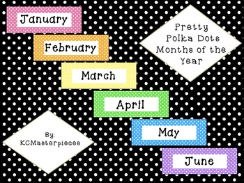 Pretty Polka Dots Months of the Year Signs
