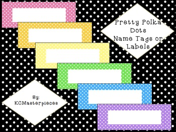 Pretty Polka Dots Name Tags or Labels