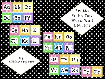 Pretty Polka Dots Word Wall Letters of the Alphabet