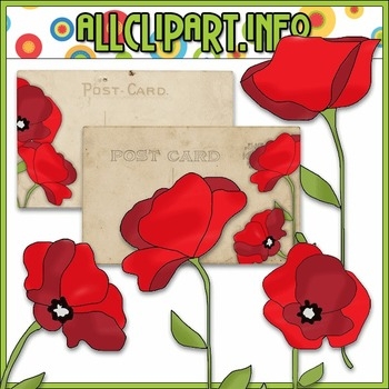 Pretty Poppies Clip Art & Post Card Card Fronts - Cheryl Seslar Clip Art