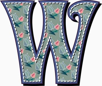"Pretty Posies Decorative Alphabet Art /  97 pcs - 4.5"" High, Vector PDF and PNGs"