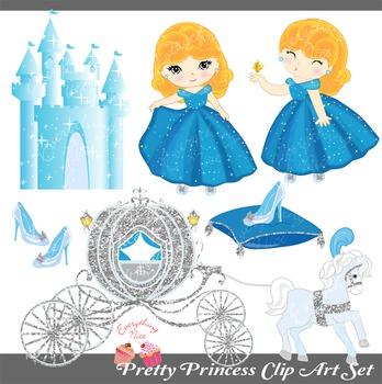 Pretty Princess Royal Carriage Castle Cinderella Clipart Set