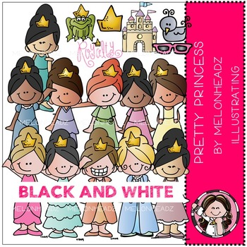 Pretty Princess clip art - BLACK AND WHITE- by Melonheadz