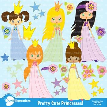 Princess clipart, Princess in Pink Clip Art, AMB-202