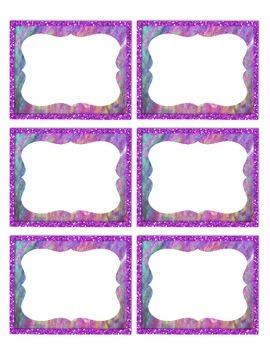Pretty Purple Glitter Labels