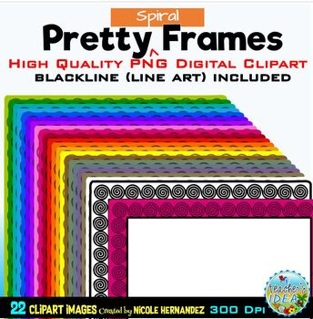 Pretty SPIRAL Frames Clip Art for Commercial Use