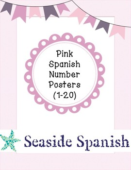 Pretty in Pink Spanish Number Posters: Numbers 1-20/Numeros 1-20
