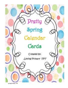 Pretty Spring Calendar Cards with birds