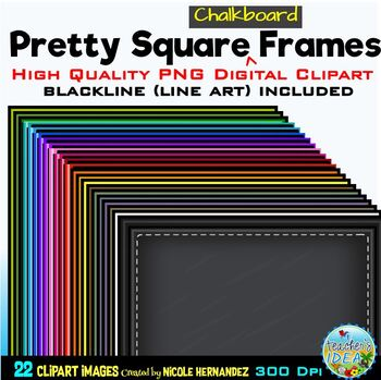 Pretty Chalk Stitch SQUARE Frames Clip Art for Personal and Commercial Use