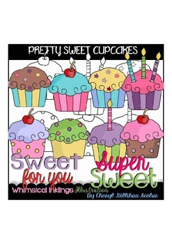Pretty Sweet Cupcakes Clipart Collection