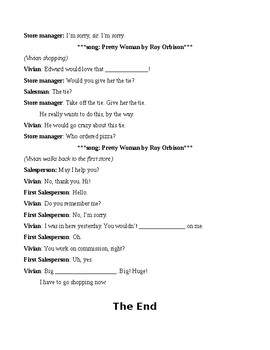 Pretty Woman clips for ESL - guided viewing worksheet