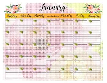 Pretty Year Planning Calendar