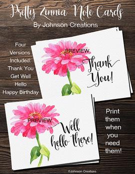 Pretty Zinnia Note Cards
