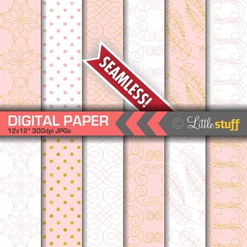 Pretty and Delicate Digital Papers in Pink and Gold