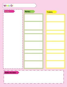 Pretty in Pink Day and Week Planner