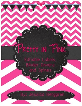 Pretty in Pink Editable Labels, Binder Covers and Spines