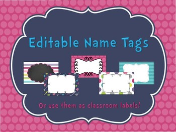 Pretty in Pink Editable Name Tags