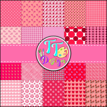 'Pretty in Pink' Valentine's Day Digital Papers {8.5 x 11}