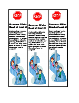 Prevent Summer Reading Slide Bookmarks