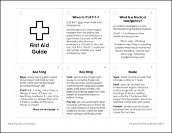 image regarding Printable First Aid Guides identified as Stop Address - Woman Scout Brownies - \