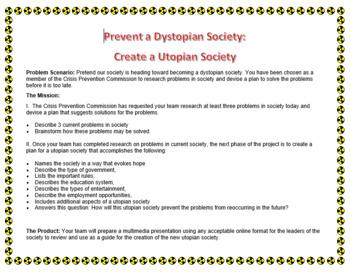 Prevent a Dystopian Society:  Create a Utopian Society (pdf)