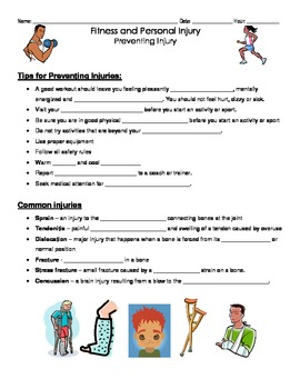 Fitness Injury and Treatment Notes Pages