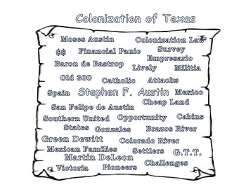 Preview Doodle: Texas History: Anglo-Colonization Vocabulary