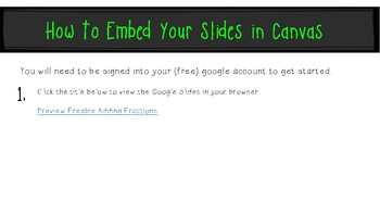 Preview Freebie Adding Fractions & Mixed Numbers: Google Slides Embed in Canvas