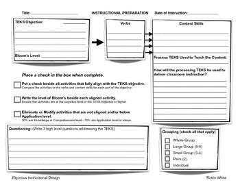 Preview Rigorous Instructional Design Template