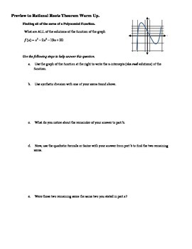 Preview Warm Up to the Rational Roots Theorem