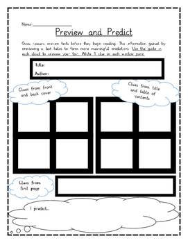 FREEBIE-Novel Pre-Reading Graphic Organizer (Preview and Predict)