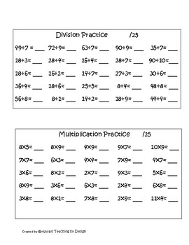 Preview of Daily Practice for Multiplication and Division