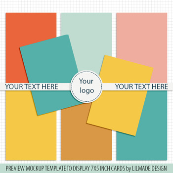 Preview template, mockup template for 7x5 inch cards