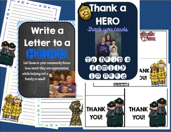 Preview to Thank a HERO letters and thank you cards! Help a Family in NEED!