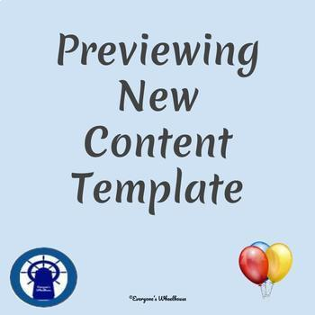 Previewing New Content Template for All Subject Areas