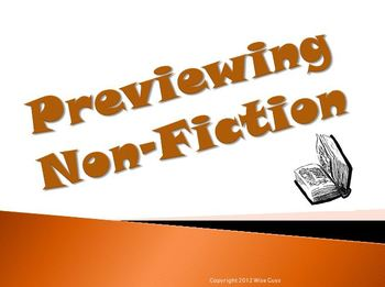 Previewing Non Fiction Reading Strategy