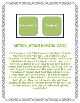 Prevocalic R Articulation Dominoes