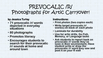 Prevocalic R: Articulation Photographs for Speech Therapy
