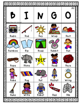 Prevocalic R Bingo