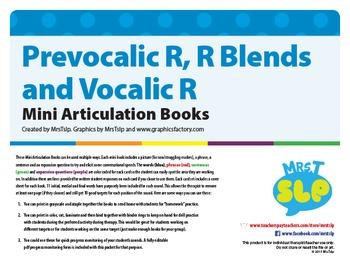 Prevocalic R, R Blends, and Vocalic R Mini Articulation Books