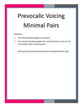 Prevocalic Voicing Minimal Pair Cards