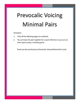 Prevocalic Voicing Minimal Pair Cards