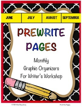 Writers Workshop: Prewrite Pages - Monthly Organizers