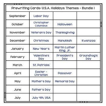 Prewriting Cards: U.S.A. Holidays Themes - Bundle 1