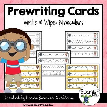 Prewriting Cards - Write & Wipe: Binoculars