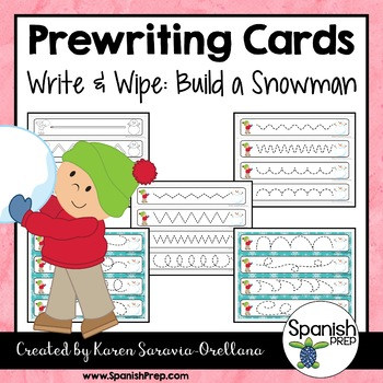 Prewriting Cards - Write & Wipe: Build a Snowman