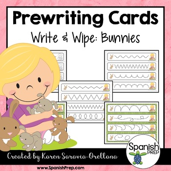 Prewriting Cards - Write & Wipe: Bunnies