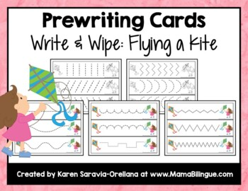 Prewriting Cards - Write & Wipe: Flying a Kite
