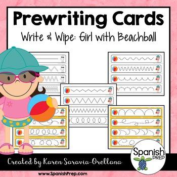 Prewriting Cards - Write & Wipe: Girl with Beachball