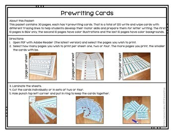 Prewriting Cards - Write & Wipe: July 4th - 1